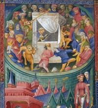 Représentation d'acteurs, mimes et jongleurs. Frontispice du manuscrit Térence dit de Martin Gouge.