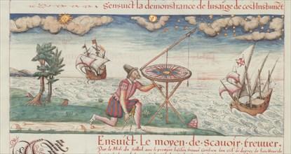 """Illustration from """"Les premieres ?uvres de Jacques de Vaulx, pillote en la marine"""", 1583."""