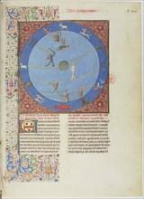 Celestial spheres, planets and zodiacs. Miniature from the Livre des proprietés des choses, c. 1480.