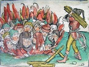 Burning of the Jews at Deggendorf in 1338 (from the Schedel's Chronicle of the World), 1493.