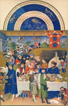 January - the Duc de Berry at table, 15th century, (1939).