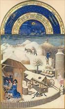 February - village under the snow, 15th century, (1939).
