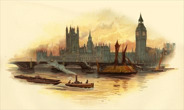 The Houses of Parliament, Westminster, London, c1890.