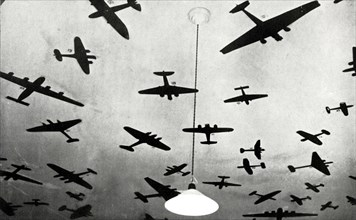 Silhouettes of military aircraft,