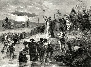 'Charlemagne Causing the Saxons to be Baptised in the Weser', (782AD)