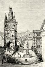 'View in Prague - The bridge Tower',1890
