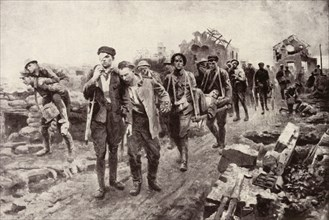 'On the Homeward Journey: Conveying Wounded from Collecting Posts to Dressing Stations', 1917. Creator: Unknown.