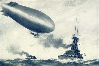 'Twixt Sea and Sky. British Airship Towed by Warship', 1917. Creator: Unknown.