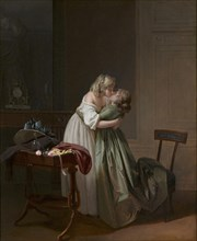Two Young Women Kissing (Deux jeunes femmes s'embrassant), ca 1790-1794. Creator: Boilly, Louis-Léopold (1761-1845).