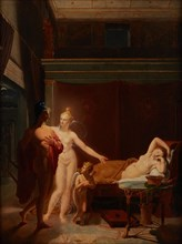 Paris and Helen (Venus and Amor escort Paris to bed chamber of Helen), 1800. Creator: Ducros, Louis (1748-1810).