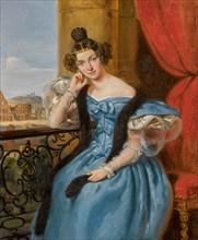 Portrait of Ekaterina Nikolaevna Meshcherskaya, née Karamzina (1806-1867) , 1835. Creator: Bard, Jean Auguste (1812-1861).
