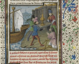 The three Grail Knights brings the Holy Grail to the Ship of Solomon, 15th century. Creator: D'Espinques, Évrard (active 1440-1494).