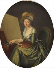Self-Portrait with Easel. Creator: Lemoine, Marie Elisabeth (1754-1820).