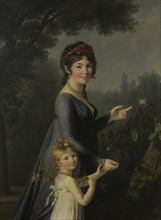 Portrait of Marie Geneviève Lemoine with her daughter Anne Aglaé Deluchi in a park. Creator: Lemoine, Marie Elisabeth (1754-1820).