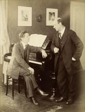 Alexander Zemlinsky and Arnold Schönberg in Prague, 1917. Creator: Photo studio Schlosser & Wenisch, Prague  .