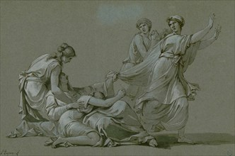 The young men and maidens of Athens to be offered as sacrificial victims to Minotaur, ca 1778. Creator: Peyron, Jean-François-Pierre (1744-1814).