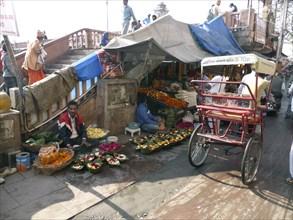 Street scene with market stalls, India 2017. Creator: Unknown.