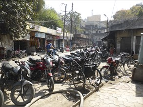 Motorcycles parked in street, Amritsar Punjab, India 2017. Creator: Unknown.