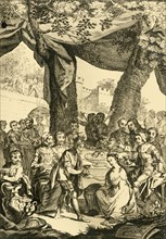 'Vortigern King of Britain espouses Rowena a Saxon Lady...', mid 18th century. Creator: Unknown.