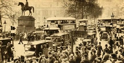 Traffic in Trafalgar Square, London, 1933.  Creator: Unknown.