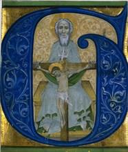 Cutting from an Antiphonary: Initial G[loria tibi Trinitas]: The Trinity, c. 1410. Creator: Unknown.