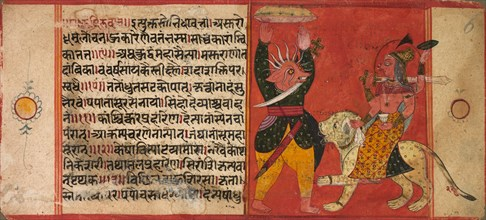 Devi Attacking a Demon, c. 1630. Creator: Unknown.