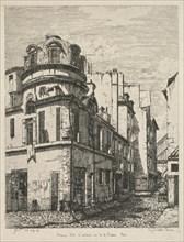 Eaux-Fortes sur le Vieux Paris: Ancienne école de médecine rue de la Bûcherie..., 1865. Creator: Gabrielle-Marie Niel (French, 1840-1894); Published by Cadart, Printed by Auguste Delatre.