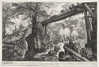 Eight Bohemian Landscapes: Landscape with Log Bridge over Cataract, c. 1610-1615. Creator: Aegidius Sadeler (Flemish, c. 1570-1629).
