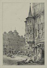 Facisimilies of Sketches made in Flanders and Germany: Hotel de Ville, Prague, 1833. Creator: Samuel Prout (British, 1783-1852).