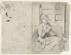 Knitting in the Library (recto), c. 1881. Creator: Mary Cassatt (American, 1844-1926).