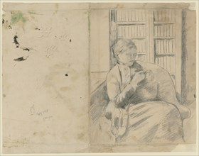 Knitting in the Library (recto); Knitting in the Library (verso), c. 1881. Creator: Mary Cassatt (American, 1844-1926).