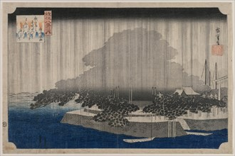 Night Rain at Karasaki, from the series Eight Views of Omi, c. 1835. Creator: Utagawa Hiroshige (Japanese, 1797-1858).