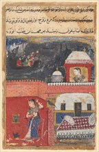 Page from Tales of a Parrot (Tuti-nama): First night: Khujasta kills the pet myna..., c. 1560. Creator: Unknown.