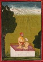 Raja Dalip Singh of Guler on a Dais, c. 1720. Creator: Unknown.