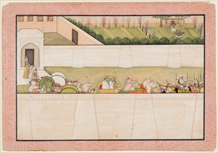 Rama?s Brothers Bharata and Shatrughna set out from Ayodhya to find Rama and Lakshmana..., 1775-80. Creator: Unknown.
