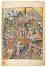 Royal Reception in a Landscape, right folio from a double-page frontispiece..., 1444. Creator: Unknown.