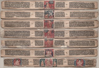 Seven Leaves from a Manuscript of the Gandavyuha-sutra..., 1000s-1100s. Creator: Unknown.