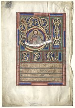 Single Leaf Excised from a Gospel Book with Initial L[iber generationis]: St. Matthew (verso), c1190 Creator: Unknown.