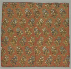 Taffeta Fragment with Gul-u-Bulbul (Rose and Nightingale) Pattern, 1700s. Creator: Unknown.