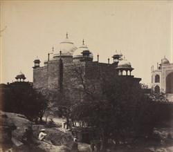 Taj Mahal, Back View of the Rest-House, with Figure, c. 1858-1862. Creator: John Murray (British, 1809-1898).