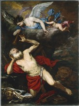 The Vision of Saint Jerome, c. 1660. Creator: Giovanni Battista Langetti (Italian, 1635-1676).