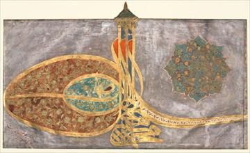 Tughra: Shah Muhammad bin Ibrahim Khan, al-muzaffar daima..., 1648-1687. Creator: Unknown.