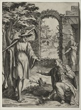 Christ Appearing to Mary Magdalen, 1567. Creator: Cornelis Cort (Dutch, 1533-1578); Giulio Clovio (Italian, 1498-1578), after a design by.