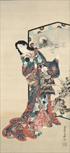 Beauty Before a Screen, 1800s. Creator: Kawanabe Kyosai (Japanese, 1831-1889).
