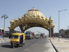 Golden entrance gate to Amritsar Punjab, India 2017. Creator: Unknown.