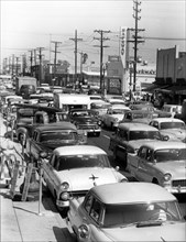 Traffic congestion in USA, 1950's. Creator: Unknown.