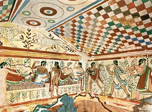 Mural painting in the Leopard's Tomb (Tomba dei Leopardi) at Tarquinia, Italy, (1928).  Creator: Unknown.