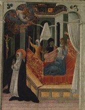 Saint Catherine of Siena Beseeching Christ to Resuscitate Her Mother, ca. 1447-65. Creator: Giovanni di Paolo.
