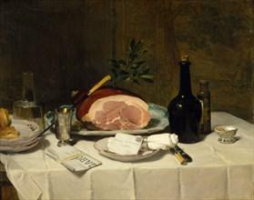 Still Life with Ham, 1870s. Creator: Philippe Rousseau.