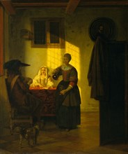 A Couple Playing Cards, with a Serving Woman, ca. 1665-75. Creator: Pieter de Hooch.